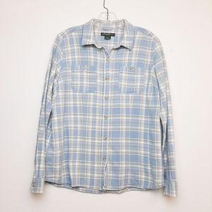 Eddie Bauer Plaid Flannel Button Down Shirt Large
